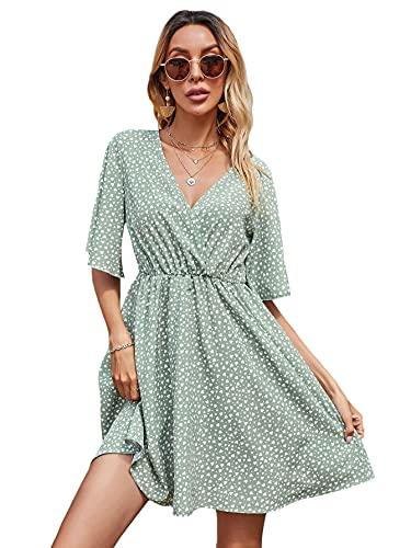 Floerns Women's Polka Dots V Neck Short Sleeve A Line Short Dress Mint Green L