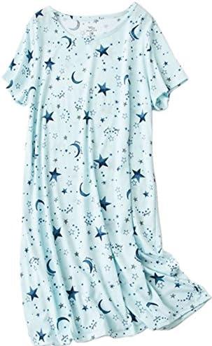 PNAEONG Women s Cotton Nightgown Sleepwear Short Sleeves Shirt Casual Print Sleepdress XTSY108 product image