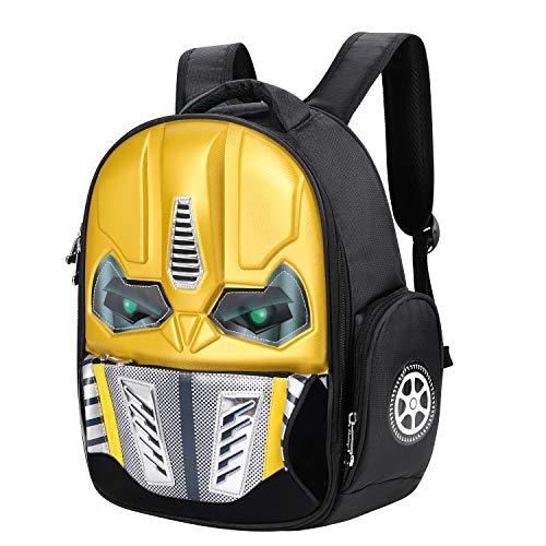 Mochila de robot con efecto 3D y brillante, para la escuela, excursiones o viajes, para niños de 5-10 años, amarillo (Amarillo) - SHU-BAO-000018-IB-FR