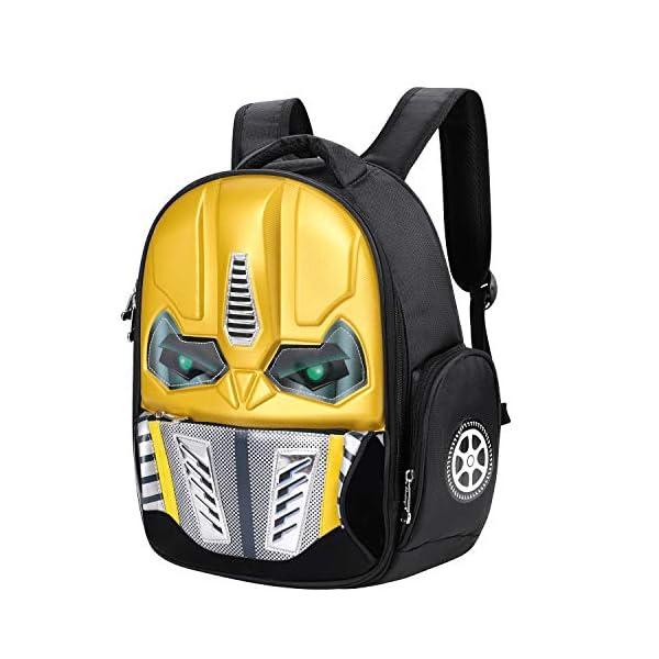 51GkNNhn4AL. SS600  - Mochila de robot con efecto 3D y brillante, para la escuela, excursiones o viajes, para niños de 5-10 años, amarillo…