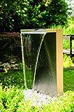 Köhko Wasserfall Kobra aus Edelstahl 23006 Gartenbrunnen mit LED-Beleuchtung