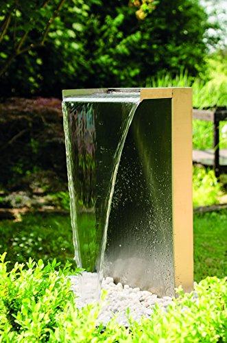 Köhko® Wasserfall Kobra aus Edelstahl 23006 Gartenbrunnen mit LED-Beleuchtung