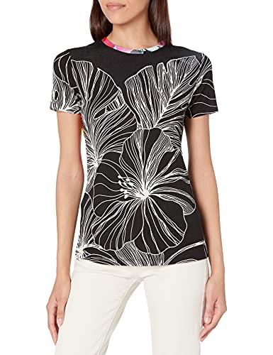 Desigual TS_Leaves Camiseta, Negro, M para Mujer