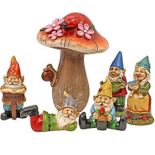 Miniature Gnomes for Fairy Garden: Gnome Garden Accessories Kit with Mushroom Garden Decor Outdoor 6 Piece Set, Bring The Magic to Your Garden!