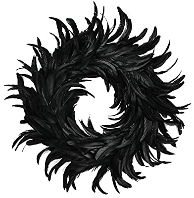 Touch of Nature Cocktail Feather Wreath, 15-Inch, Black