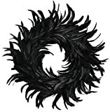 Touch of Nature Cocktail Feather Wreath, 15-Inch - Black Cocktail Feathers - FREE GARLAND INCLUDED - Front Door Wreath - Natural Feathers