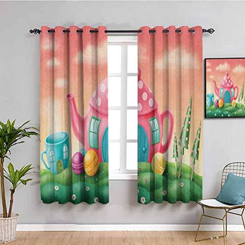 Songdayone - Tenda oscurante fantasy, fantasia aironi e albero in vita, confezione da 2 pannelli, colore: Viola, Poliestere, Colore 04, W63 x L63 Inch