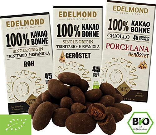 Edelmond Bio 100% Kakao Schokoladen-Paket. Nur Edel-Kakaobohnen. Handgemacht, vegan & fair-trade. Extra Extra herb!