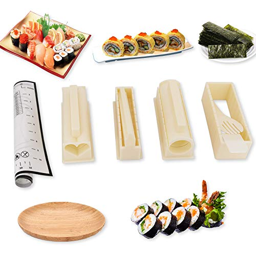 Juego de herramientas de sushi para hacer sushi, 10 piezas, kit para hacer sushi con 1 alfombrilla de silicona antiadherente, tabla de cortar para cocina, kit de hacer sushi para principiantes, kit de sushi para el hogar