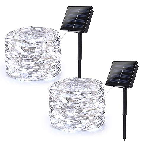 Brizled Solar String Lights Outdoor, 2 Pack 78.7ft 240 LED Solar Fairy Lights Waterproof, Solar Copper Wire Twinkle Lights 8 Modes, Solar Christmas Lights Decorative for Garden Tree Party, Cool White