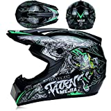 Casco de motocross para niños, casco de motocross con guantes/máscara/gafas, casco completo para bicicleta de montaña, casco de resistencia para ATV Downhill protección de seguridad (negro, verde, M)