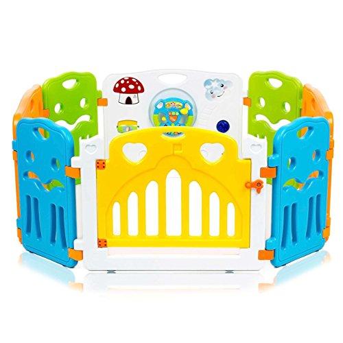 Baby Vivo Parc Bébé Barrière Securitè avec Porte Plastique Enfant Protection Jeu Extensible - COLORS Paquet principal