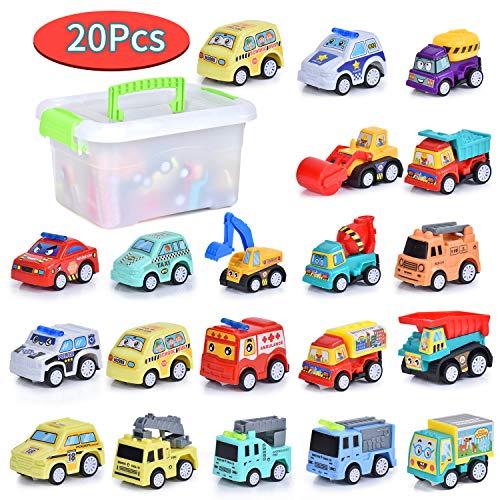 FORMIZON 20 Stück Mini Auto Spielzeug, Spielzeugautos, Mini Auto Set Rennauto, Pull Back Autos Spielzeug Autos für Kleinkinder ab 3 4 5 Mädchen, Buntes Kleine Geschenk für Kinder (Baufahrzeuge)
