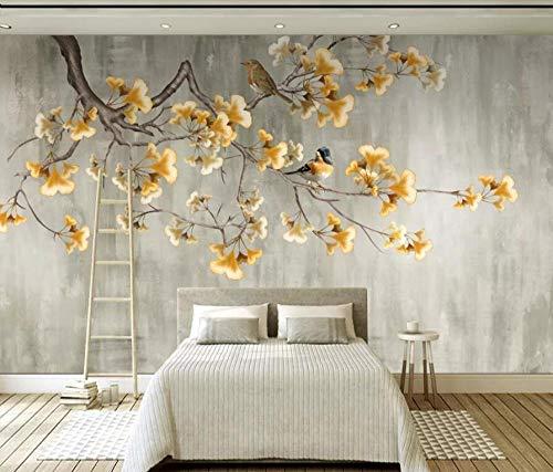 Fototapete 3D Vliestapete Golden Ginkgo Baum Wandbild Wandbilder Wohnzimmer Fernseher Sofa Hintergrund Tapete Moderne Wohnkultur -400x280CM-XXL