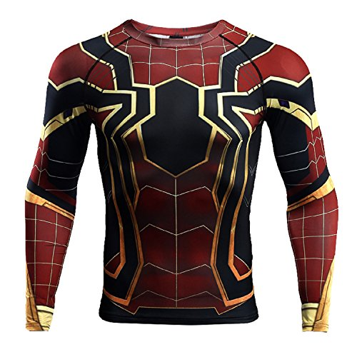 COOLMAX Spiderman Mens Sports Compression Shirt 3D Print T-Shirt Fitness Tops (Small) Red