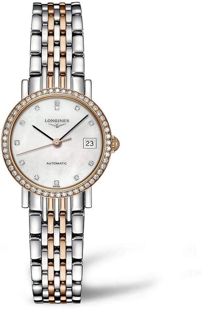 Longines orologio automatico per donna in acciaio inossidabile e oro rosa 18 carati quadrante madreperla