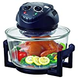 Hometech HT-A11 12 Quart 1200W Halogen Infrared Tabletop Convection Countertop Cooking Toaster Oven with 5 Quart Extender Ring(to 17 Quart),Lid Holder, Frying Pan, Tongs, Dual Rack,Matt Black