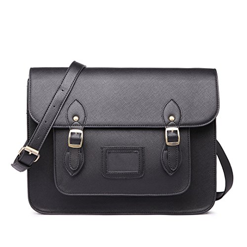 Miss Lulu Brand Vintage Designer Faux Leather Work Briefcase Satchel Bag School Bag (Black)