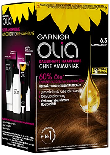 Garnier Olia Haar Coloration Karamellbraun 6.3 / Färbung für Haare enthält 60% Blumen-Öle für intensive Farbkraft - Ohne Ammoniak - 3 x 1 Stück