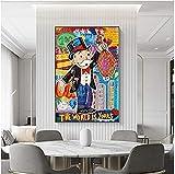 Tik LP Alec Monopoly Graffiti Art Dinero Pinturas en la Pared Arte Lienzo Pósters e Impresiones El Mundo es suyo Modern Home Pictures 24x32in (Size : 40x60cm(16x24in))
