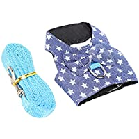 [Commodity composition] This product contains a walking traction vest with a star pattern and a traction rope, the color is blue. [Wide application] Rabbit walking harness is suitable for small pets such as rabbits, cats, small dogs, kittens, puppies...