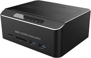 WSSBK Dual Bay USB 3.0 to SATA IDE External Hard Drive Docking Station with 2-Port Hub Card Reader 2.5/3.5 Inch SATA/IDE HDD