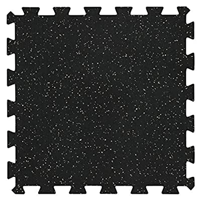 "Genaflex Lock 8mm Rubber Gym Tiles (20"" X 20"") Super Durable Laminated Interlocking Protective Exercise Flooring (10 Tiles, Black/Grey)"