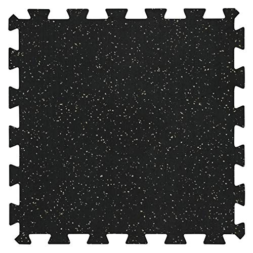 """Genaflex Lock Heavy Duty Interlocking Rubber Gym Tiles 8mm Thick X 20"""" X 20"""" Super Durable Laminated Protective Exercise Home Gym Flooring Mats (4 Tiles, Black/Grey)"""