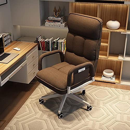 Especial /Simple L-elegante Silla de computadora doméstica Ergonómica, trasera alta Silla giratoria Silla de escritorio tapizada con reposabrazos, sillón de elevación ajustable Reclinador para adultos