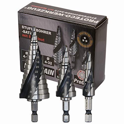 Proteco-Werkzeug® HSS Titan TIN TiALN Profi Stufenbohrer Konusbohrer Schälbohrer Metallbohrer Set 3-tlg. mit Schnellspannschaft für Bohrmaschinen