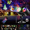 SGODDE Christmas Projector Lights, 2-in-1 HD Ocean Waves & Moving Patterns Waterproof Laser Light Outdoor Indoor Projector with Remote Timer for Christmas Xmas New Year Party Landscape Decorations