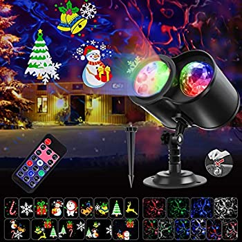 SGODDE Christmas Projector Lights 2-in-1 HD Ocean Waves & Moving Patterns Waterproof Laser Light Outdoor Indoor Projector with Remote Timer for Christmas Xmas New Year Party Landscape Decorations