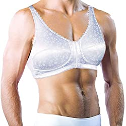 Men's white satin bra that holds silicone breast forms in place.