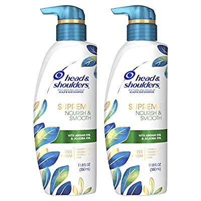 Head & Shoulders Supreme, Scalp Care and Dandruff Treatment Shampoo, with Argan Oil and Jojoba, Nourish and Smooth Hair and Scalp, 11.8 Fl Oz, Pack of 2