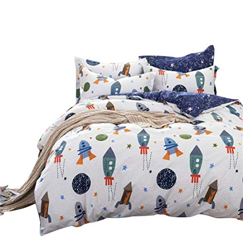HNNSI Cotton Space Kids Boys Bedding Sets 4 Piece Full Size, Kids Duvet Cover with Bed Fitted Sheet, Rocket Galaxy Comforter Cover for Children Teens (Full, Fitted Sheet Set)