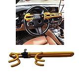 Twin Hooks Steering Wheel Lock,Vehicle Anti-Theft Lock,Adjustable Length Clamp Double Hook Universal Self Defense Heavy Duty Secure Lock