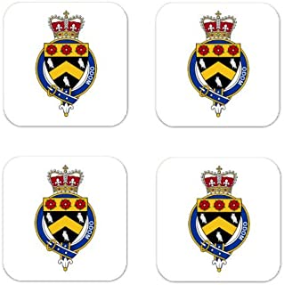 Odom Family Crest Square Coasters Coat of Arms Coasters - Set of 4
