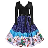 Kenmeko Vestire Le Donne Vintage Manica Lunga Natale Anni '50 Housewife Evening Party Prom (L,25Blu)