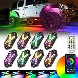 SUPAREE 8 pods RGB Rock Lights car neon underglow kit Wireless Color Changing Exterior led Under Vehicle Lighting Waterproof for Truck Boat Jeep Wrangler jk jku jl tj utv ATV RZR Golf cart gmc