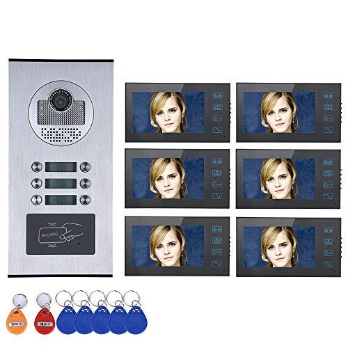 """DYWLQSistema de intercomunicación convideoportero de 7"""",timbre para el familia,cámara 1000TVL,6 monitores a prueba de agua,visión nocturna HD,contraseña RFID de huellas dactilares"""
