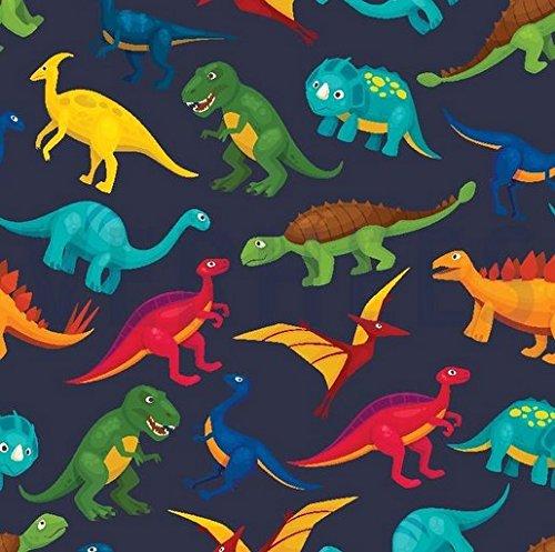 0,5m Sommer Sweat Digital Dinos dunkelblau 95% Baumwolle 5% Elasthan Meterware 140cm breit Motivgröße Dinos ca. 8 bis 9cm