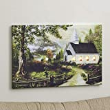 Lighted White Country Church in a Forest Wall Art Canvas Picture