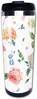 Portable Stainless Steel Insulated Coffee Travel Cup Mug,Watercolor seamless pattern with blooming peonies rosesleak-proof flip cover keeps hot or cold 13.6 oz (400 ml)