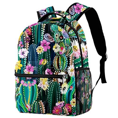 Rucksack mit Kaktus und Blüte, Schultasche, Büchertasche, Wanderrucksack, Reiserucksack