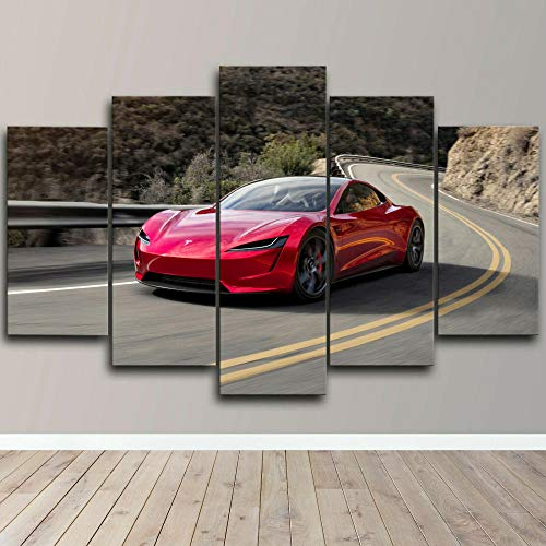 Cuadro sobre Impresión Lienzo 5 Piezas Coche eléctrico Tesla Roadster HD Abstracta Imágenes Modulares Sala De Estar cuadro decorativo abstracto salon dormitorio Decoración para El Hogar 150X80Cm
