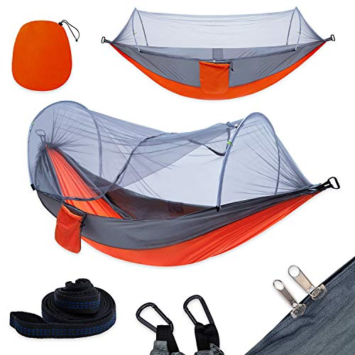 yoomo Camping Hammock with Mosquito Net & Tree Straps Lightweight Parachute Fabric Travel Bed for Hiking, Backpacking, Backyard. (Gray/Orange)