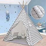 Tienda de campaña Tiny Land Teepee para niños, tienda de campaña para uso en interiores y exteriores, 5 pies, lona de algodón con estilo cheurón en color gris