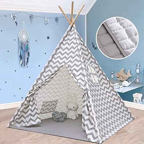 Tiny Land Kids Teepee Tent with Mat & Light String, Kids Foldable Play Tent for Indoor Outdoor, Grey Canvas Teepee, Portable Playhouse, Best Birthday Gift for Boy & Girl