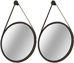 Kit 02 Espelhos Decorativo Redondo 67cm com Alça Adnet B01 Escandinavo Preto - Lyam Decor