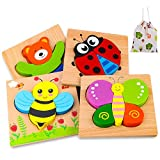 Wooden Puzzles for 1 2 3 Years Old Girls and Boys, 4 Pack Animal Puzzles Educational and Learning Toys Easter Basket Stuffers for Toddlers